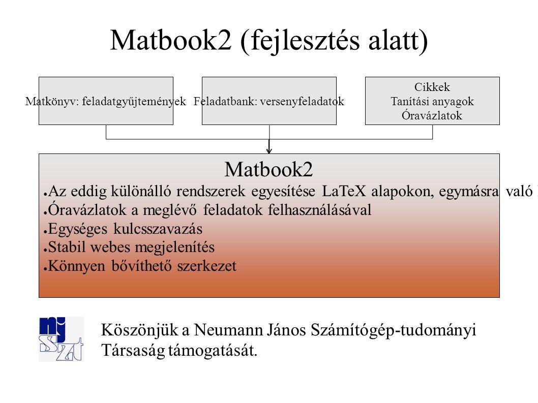 Köszönjük a Neumann János Számítógép ‑ tudományi Társaság támogatását. Matbook2 (fejlesztés alatt) Matkönyv: feladatgyűjteményekFeladatbank: versenyfe