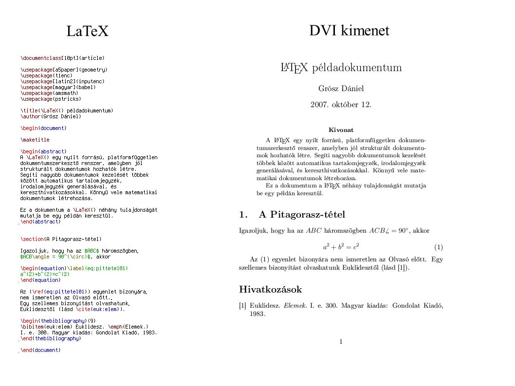 LaTeX DVI kimenet