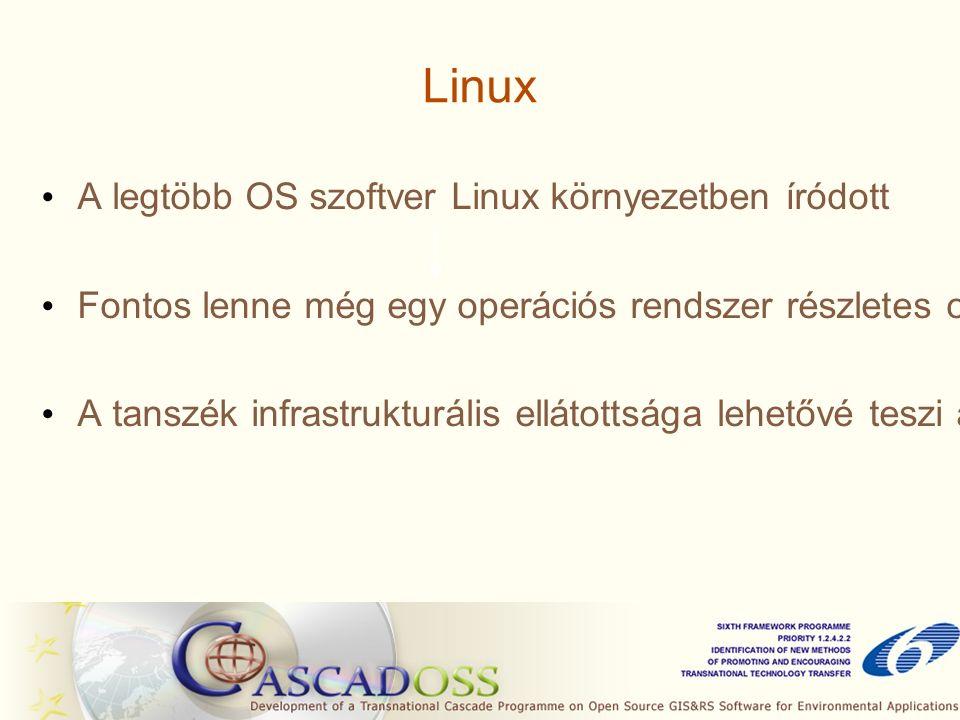 Linux A legtöbb OS szoftver Linux környezetben íródott Fontos lenne még egy operációs rendszer részletes oktatása A tanszék infrastrukturális ellátottsága lehetővé teszi azt, hogy a jelenlegi OP rendszer mellett egy másik OP rendszer is elérhető legyen