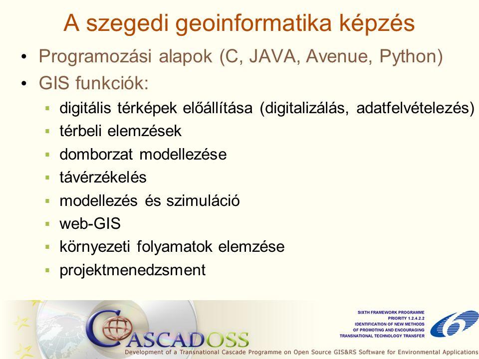 A szegedi geoinformatika képzés Programozási alapok (C, JAVA, Avenue, Python) GIS funkciók:  digitális térképek előállítása (digitalizálás, adatfelvételezés)  térbeli elemzések  domborzat modellezése  távérzékelés  modellezés és szimuláció  web-GIS  környezeti folyamatok elemzése  projektmenedzsment