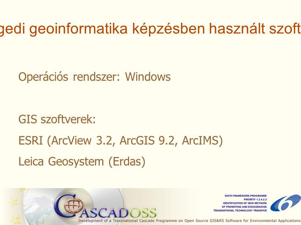 A szegedi geoinformatika képzésben használt szoftverek Operációs rendszer: Windows GIS szoftverek: ESRI (ArcView 3.2, ArcGIS 9.2, ArcIMS) Leica Geosystem (Erdas)