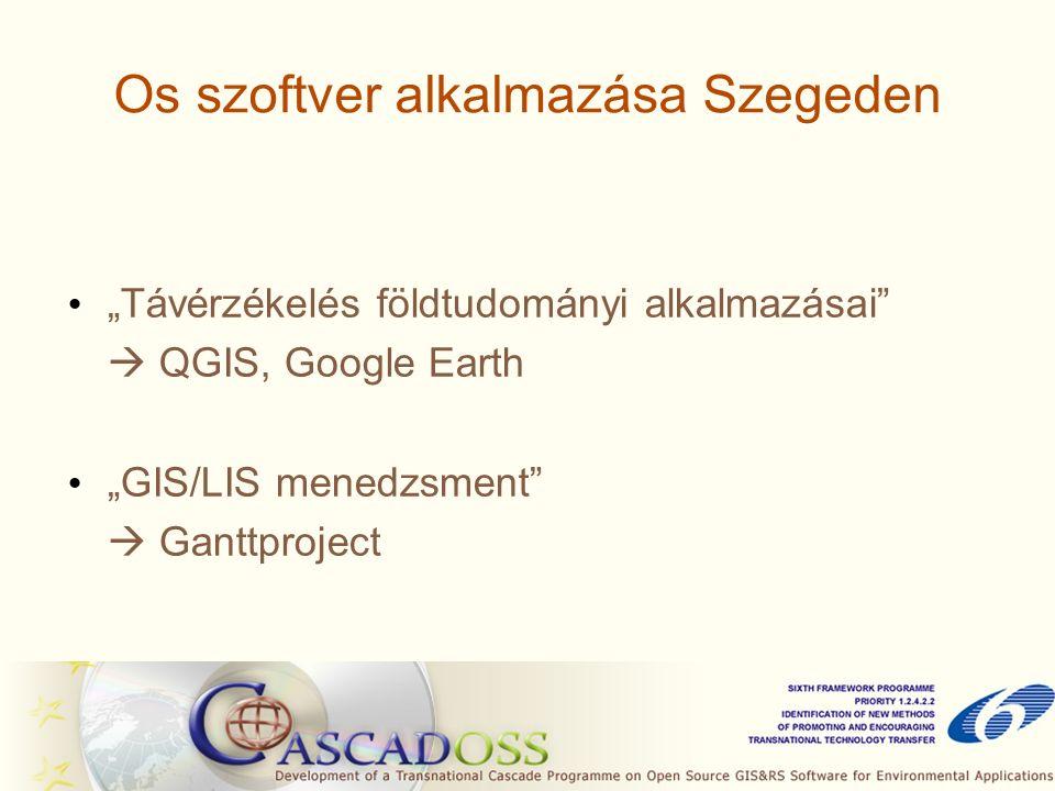 """Os szoftver alkalmazása Szegeden """"Távérzékelés földtudományi alkalmazásai  QGIS, Google Earth """"GIS/LIS menedzsment  Ganttproject"""