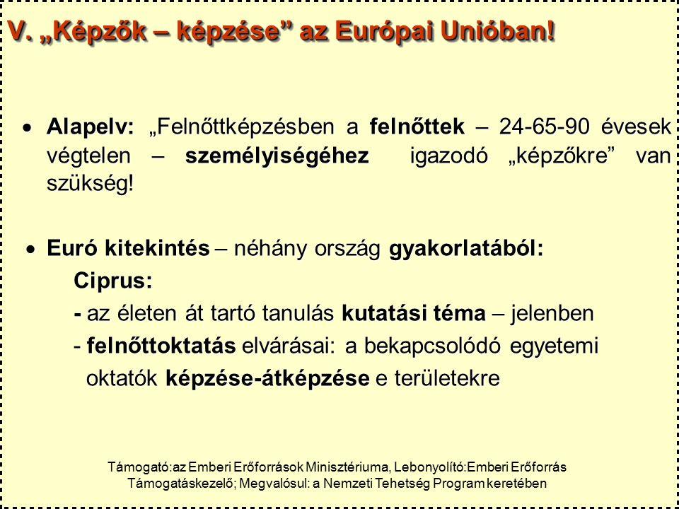 """V. """"Képzők – képzése az Európai Unióban."""