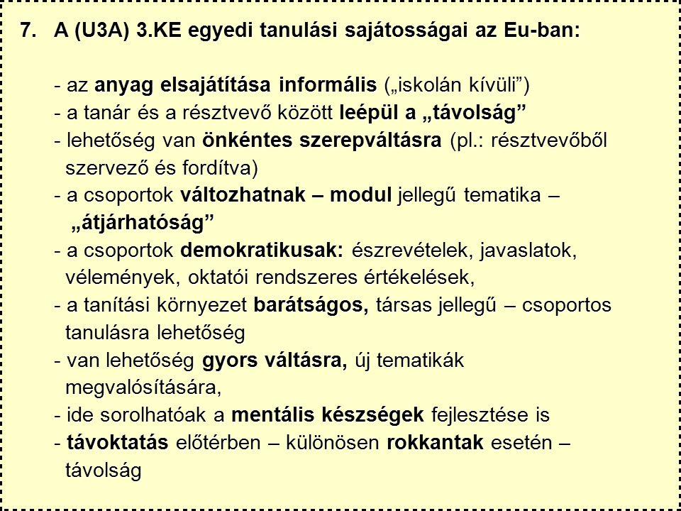 """7.A (U3A) 3.KE egyedi tanulási sajátosságai az Eu-ban: - az anyag elsajátítása informális (""""iskolán kívüli ) - a tanár és a résztvevő között leépül a """"távolság - lehetőség van önkéntes szerepváltásra (pl.: résztvevőből szervező és fordítva) szervező és fordítva) - a csoportok változhatnak – modul jellegű tematika – """"átjárhatóság """"átjárhatóság - a csoportok demokratikusak: észrevételek, javaslatok, vélemények, oktatói rendszeres értékelések, vélemények, oktatói rendszeres értékelések, - a tanítási környezet barátságos, társas jellegű – csoportos tanulásra lehetőség tanulásra lehetőség - van lehetőség gyors váltásra, új tematikák megvalósítására, megvalósítására, - ide sorolhatóak a mentális készségek fejlesztése is - távoktatás előtérben – különösen rokkantak esetén – távolság távolság"""