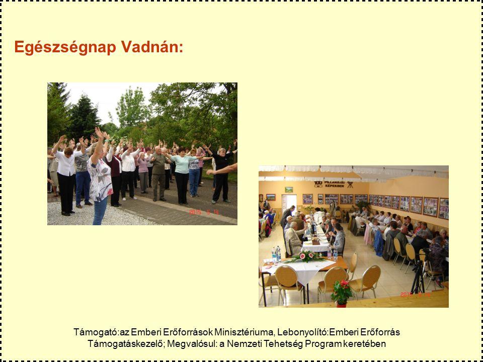 Egészségnap Vadnán: Támogató:az Emberi Erőforrások Minisztériuma, Lebonyolító:Emberi Erőforrás Támogatáskezelő; Megvalósul: a Nemzeti Tehetség Program keretében