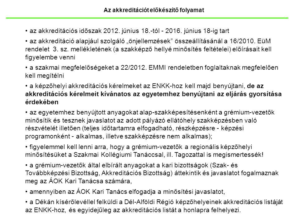 """Az akkreditációt előkészítő folyamat az akkreditációs időszak 2012. június 18.-tól - 2016. június 18-ig tart az akkreditáció alapjául szolgáló """"önjell"""