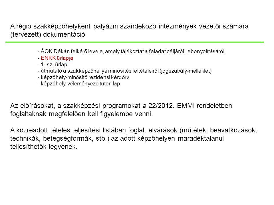 A régió szakképzőhelyként pályázni szándékozó intézmények vezetői számára (tervezett) dokumentáció - ÁOK Dékán felkérő levele, amely tájékoztat a fela