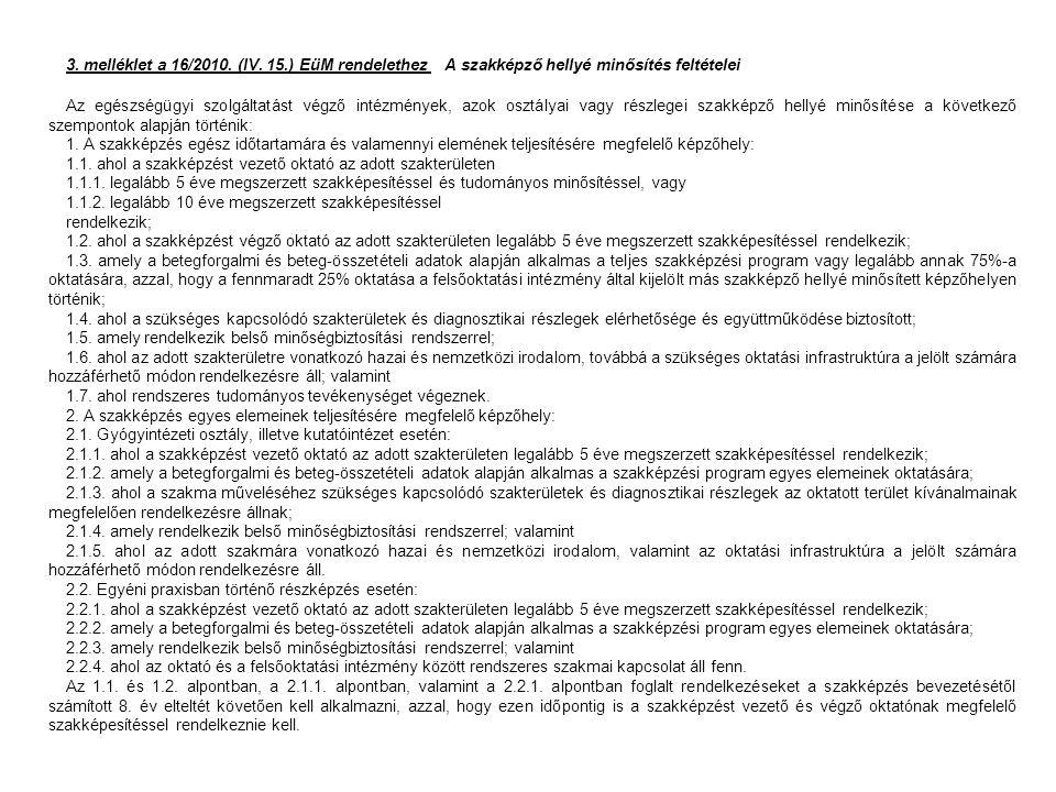 3. melléklet a 16/2010. (IV. 15.) EüM rendelethez A szakképző hellyé minősítés feltételei Az egészségügyi szolgáltatást végző intézmények, azok osztál