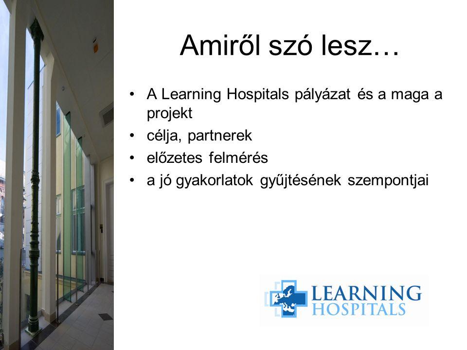 A Learning Hospitals pályázat és a maga a projekt célja, partnerek előzetes felmérés a jó gyakorlatok gyűjtésének szempontjai Amiről szó lesz…