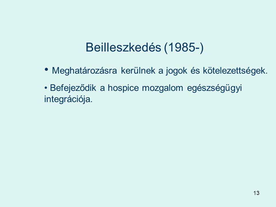 13 Beilleszkedés (1985-) Meghatározásra kerülnek a jogok és kötelezettségek.
