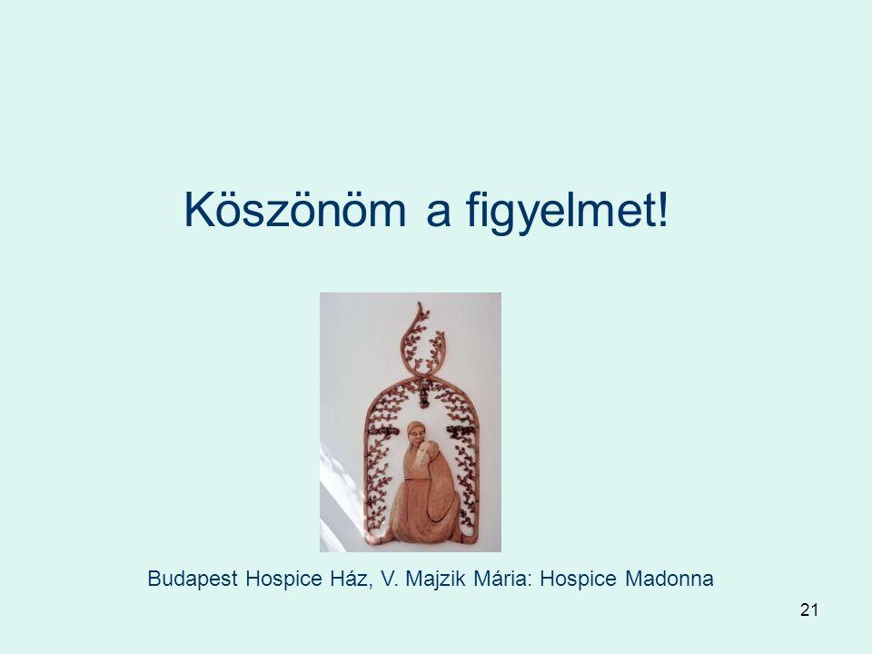 21 Köszönöm a figyelmet! Budapest Hospice Ház, V. Majzik Mária: Hospice Madonna