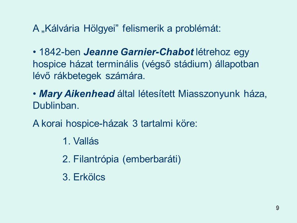 """9 A """"Kálvária Hölgyei felismerik a problémát: 1842-ben Jeanne Garnier-Chabot létrehoz egy hospice házat terminális (végső stádium) állapotban lévő rákbetegek számára."""