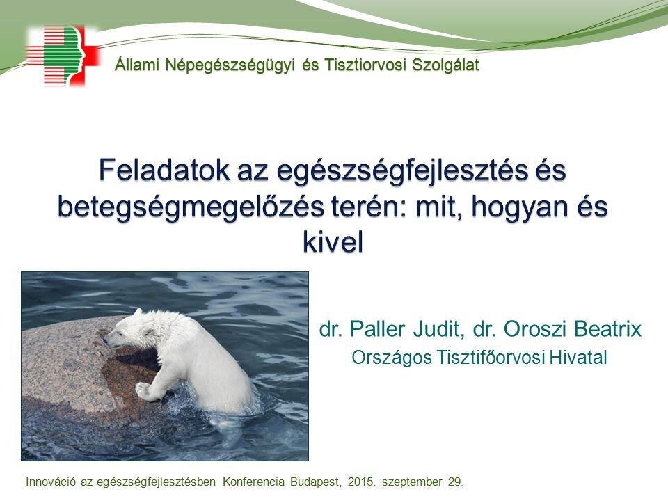 dr. Paller Judit, dr. Oroszi Beatrix Országos Tisztifőorvosi Hivatal Állami Népegészségügyi és Tisztiorvosi Szolgálat Innováció az egészségfejlesztésb
