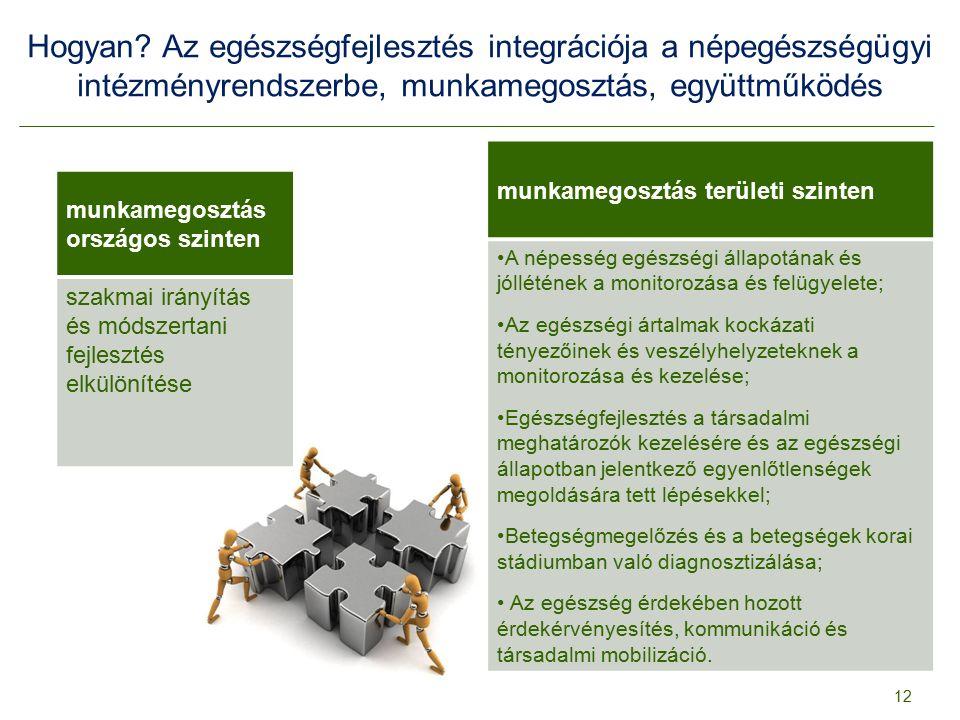 Hogyan? Az egészségfejlesztés integrációja a népegészségügyi intézményrendszerbe, munkamegosztás, együttműködés 12 munkamegosztás országos szinten sza