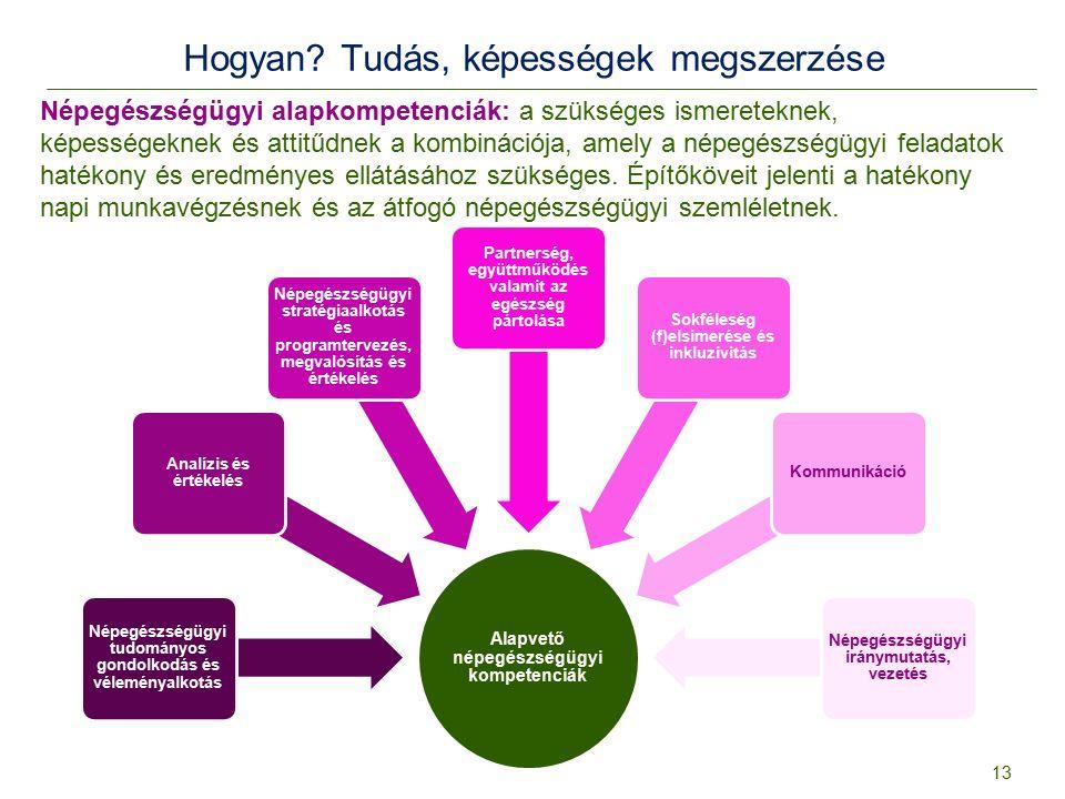 Hogyan? Tudás, képességek megszerzése Alapvető népegészségügyi kompetenciák Népegészségügyi tudományos gondolkodás és véleményalkotás Analízis és érté