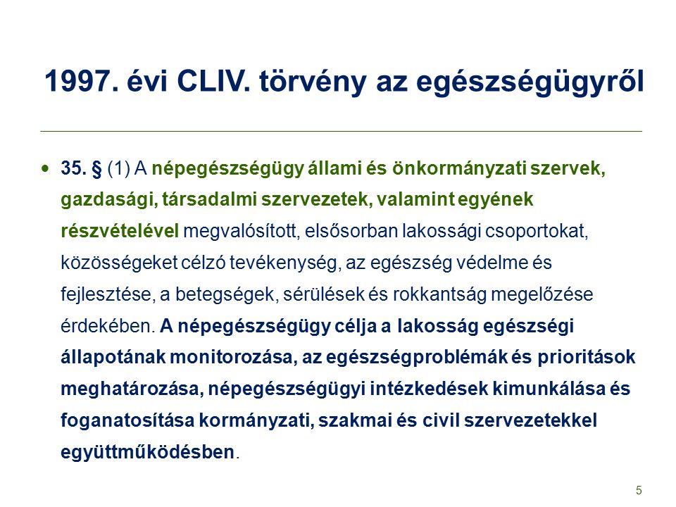 1997. évi CLIV. törvény az egészségügyről 35. § (1) A népegészségügy állami és önkormányzati szervek, gazdasági, társadalmi szervezetek, valamint egyé