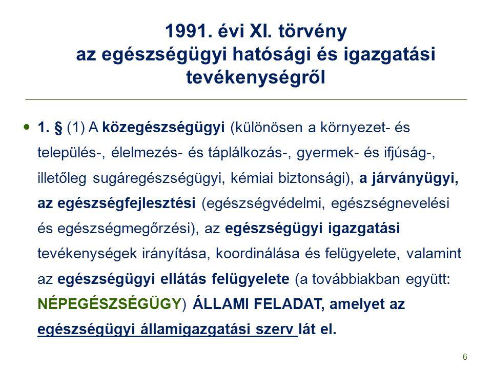 1991. évi XI. törvény az egészségügyi hatósági és igazgatási tevékenységről 1. § (1) A közegészségügyi (különösen a környezet- és település-, élelmezé