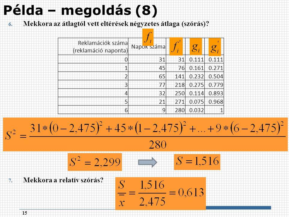 6. Mekkora az átlagtól vett eltérések négyzetes átlaga (szórás).