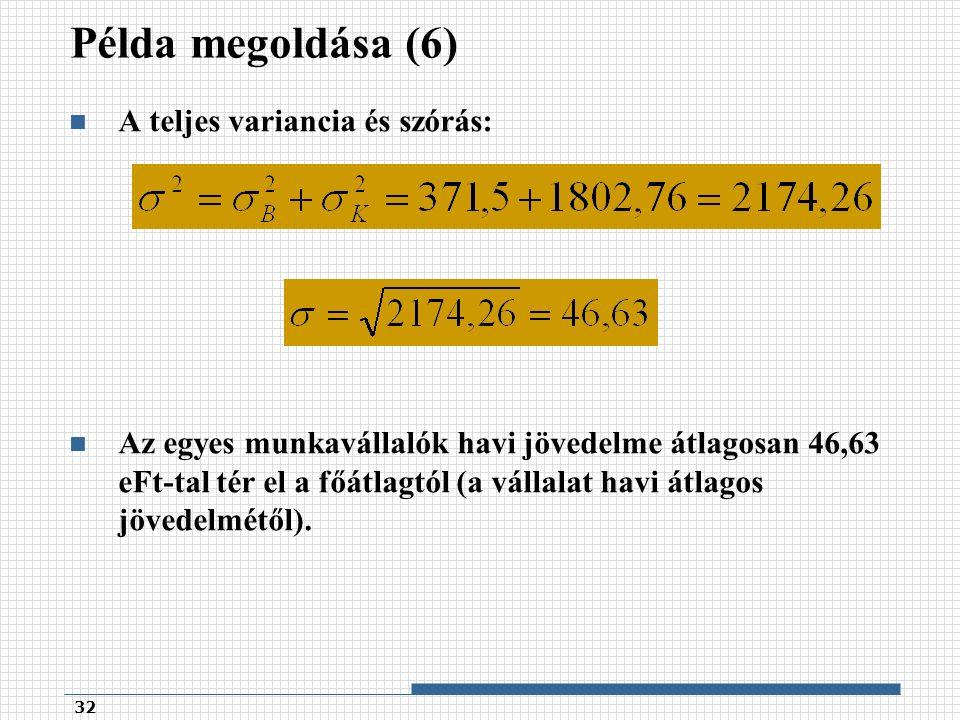 Példa megoldása (6) A teljes variancia és szórás: Az egyes munkavállalók havi jövedelme átlagosan 46,63 eFt-tal tér el a főátlagtól (a vállalat havi átlagos jövedelmétől).