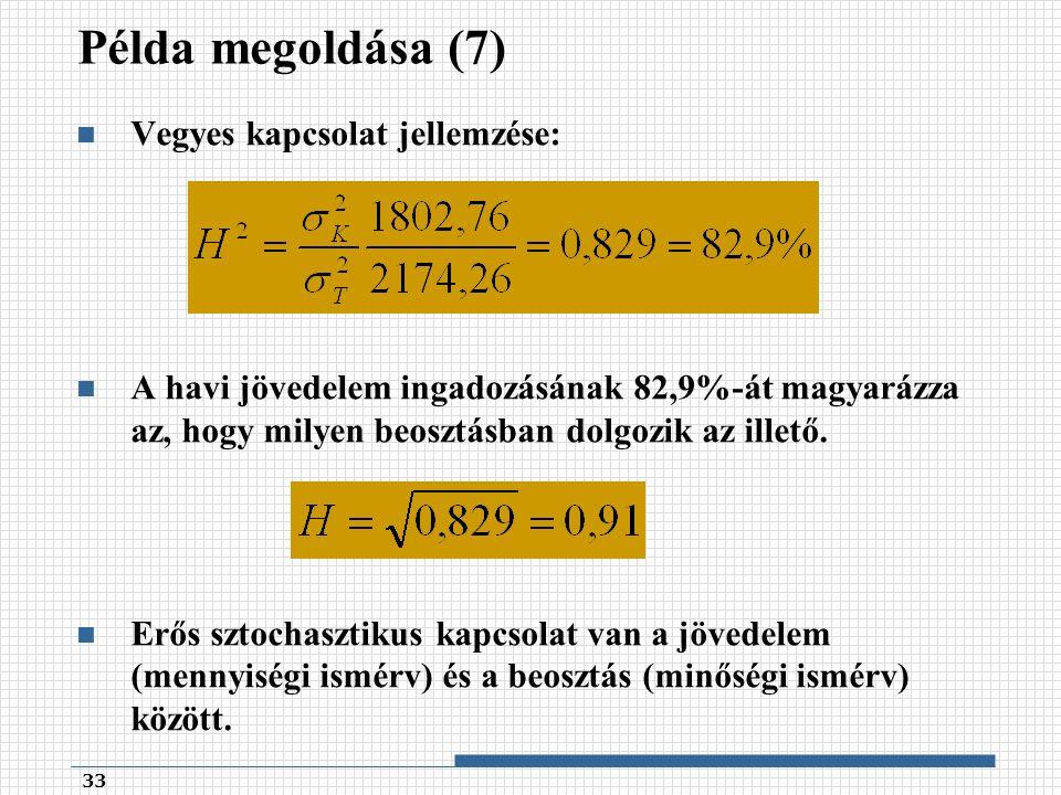 Példa megoldása (7) Vegyes kapcsolat jellemzése: A havi jövedelem ingadozásának 82,9%-át magyarázza az, hogy milyen beosztásban dolgozik az illető.