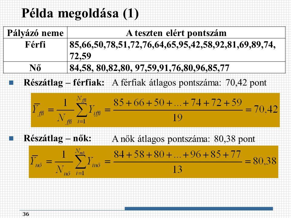 Példa megoldása (1) 36 Pályázó nemeA teszten elért pontszám Férfi85,66,50,78,51,72,76,64,65,95,42,58,92,81,69,89,74, 72,59 Nő84,58, 80,82,80, 97,59,91,76,80,96,85,77 Részátlag – férfiak: Részátlag – nők: A férfiak átlagos pontszáma: 70,42 pont A nők átlagos pontszáma: 80,38 pont