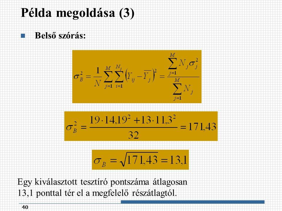 Példa megoldása (3) Belső szórás: 40 Egy kiválasztott tesztíró pontszáma átlagosan 13,1 ponttal tér el a megfelelő részátlagtól.