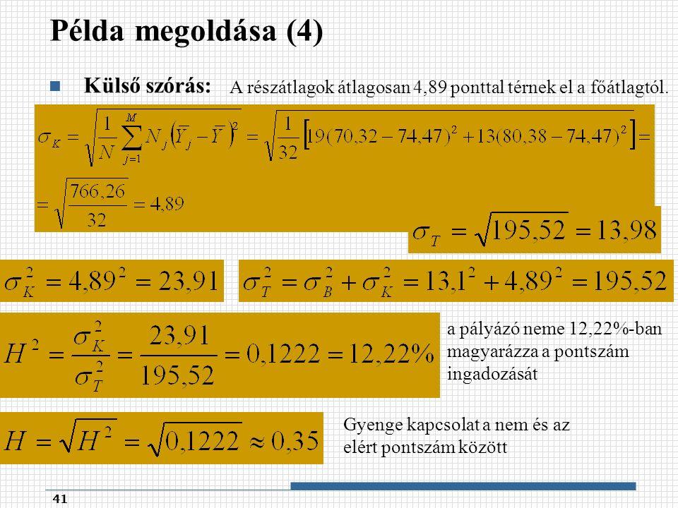 Példa megoldása (4) Külső szórás: 41 A részátlagok átlagosan 4,89 ponttal térnek el a főátlagtól.