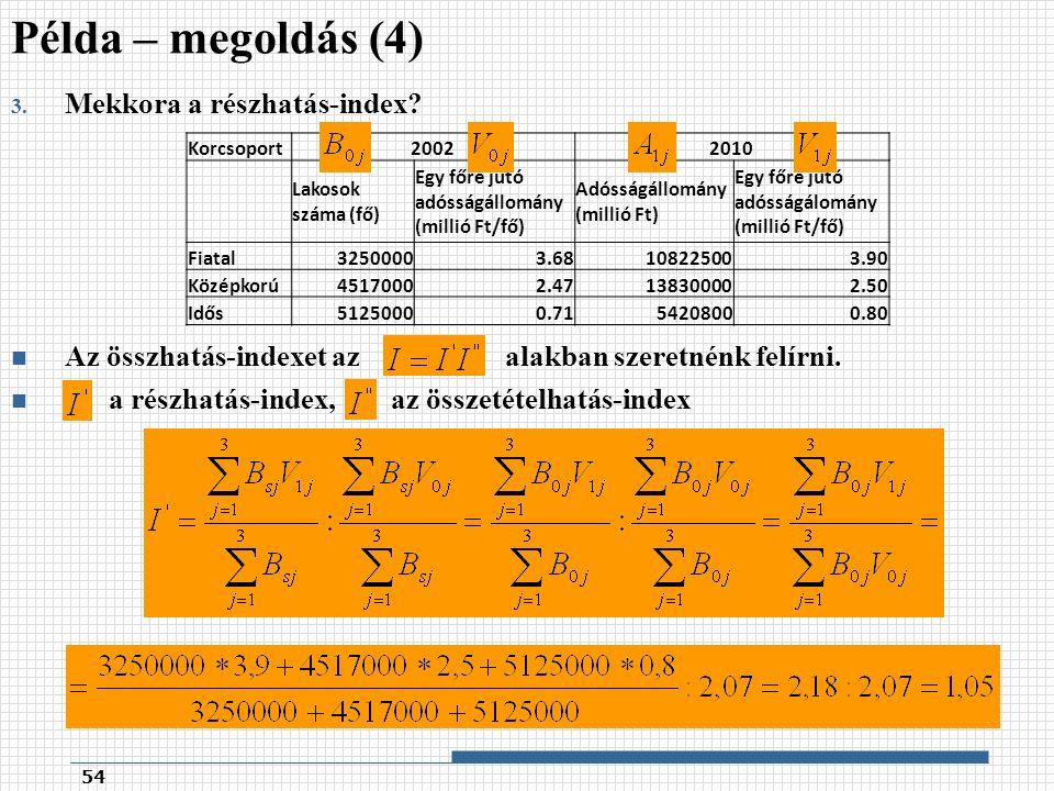3. Mekkora a részhatás-index. Az összhatás-indexet az alakban szeretnénk felírni.