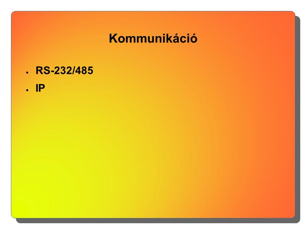Kommunikáció ● RS-232/485 ● IP