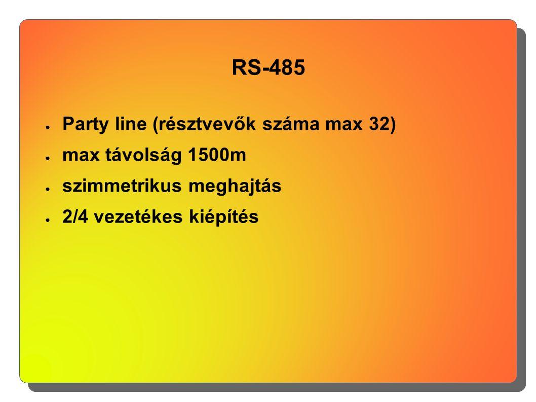 RS-485 ● Party line (résztvevők száma max 32) ● max távolság 1500m ● szimmetrikus meghajtás ● 2/4 vezetékes kiépítés