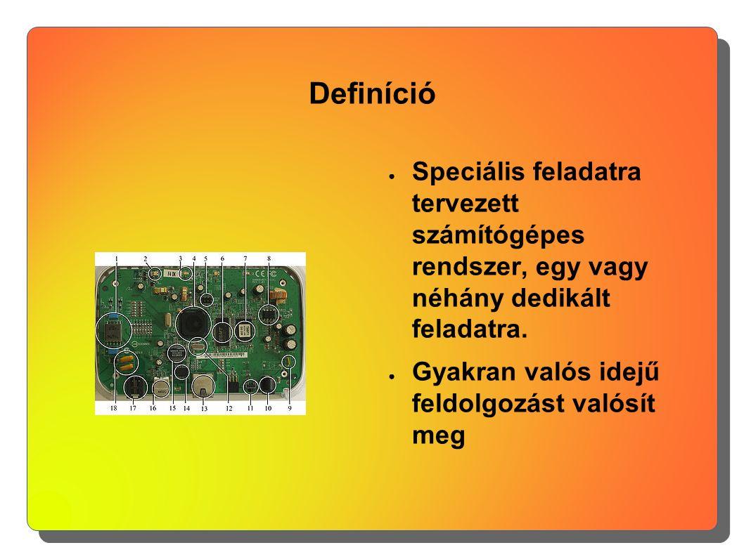 Definíció ● Speciális feladatra tervezett számítógépes rendszer, egy vagy néhány dedikált feladatra. ● Gyakran valós idejű feldolgozást valósít meg