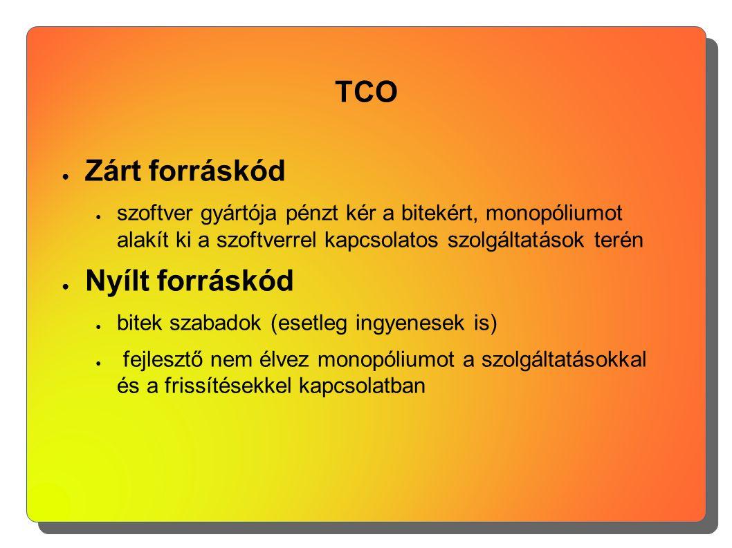 TCO ● Zárt forráskód ● szoftver gyártója pénzt kér a bitekért, monopóliumot alakít ki a szoftverrel kapcsolatos szolgáltatások terén ● Nyílt forráskód