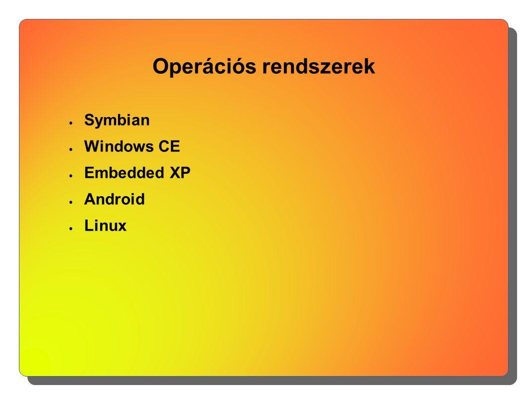 Operációs rendszerek ● Symbian ● Windows CE ● Embedded XP ● Android ● Linux