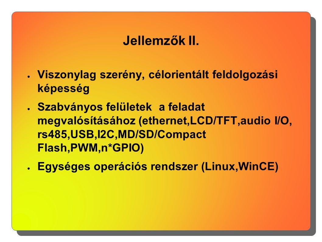 Jellemzők II. ● Viszonylag szerény, célorientált feldolgozási képesség ● Szabványos felületek a feladat megvalósításához (ethernet,LCD/TFT,audio I/O,