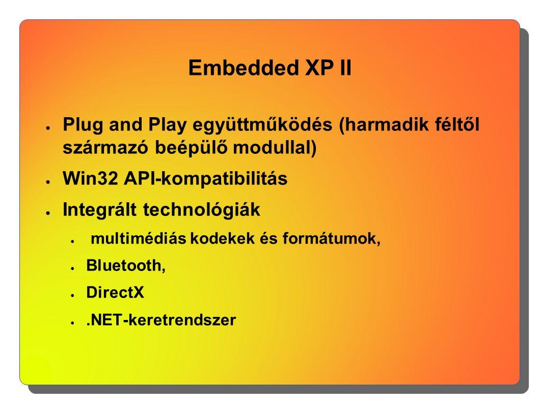 Embedded XP II ● Plug and Play együttműködés (harmadik féltől származó beépülő modullal) ● Win32 API-kompatibilitás ● Integrált technológiák ● multimé