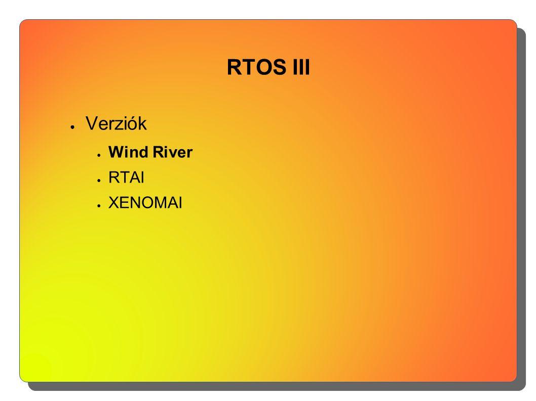 RTOS III ● Verziók ● Wind River ● RTAI ● XENOMAI