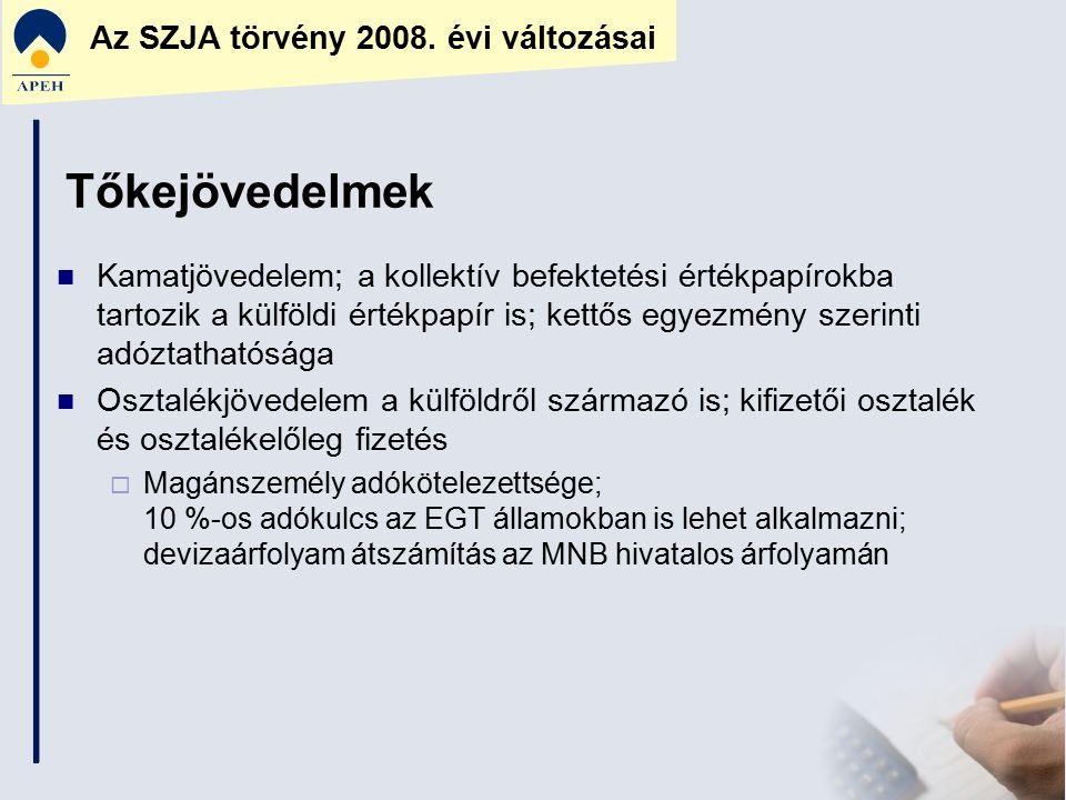 Az SZJA törvény 2008. évi változásai Tőkejövedelmek Kamatjövedelem; a kollektív befektetési értékpapírokba tartozik a külföldi értékpapír is; kettős e