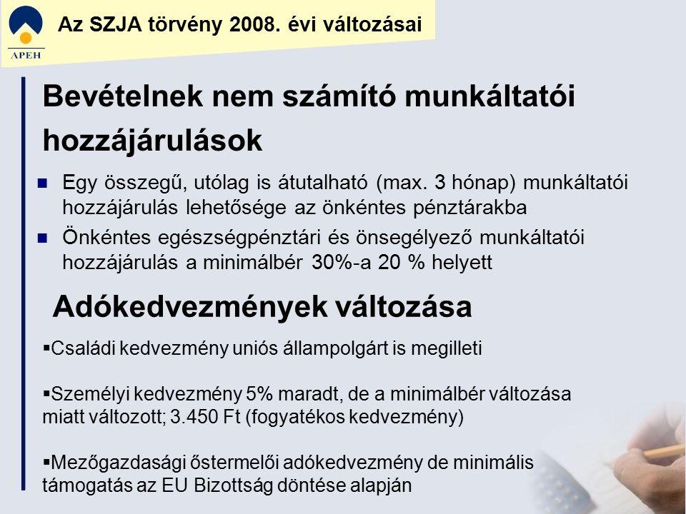 Az SZJA törvény 2008. évi változásai Bevételnek nem számító munkáltatói hozzájárulások Egy összegű, utólag is átutalható (max. 3 hónap) munkáltatói ho