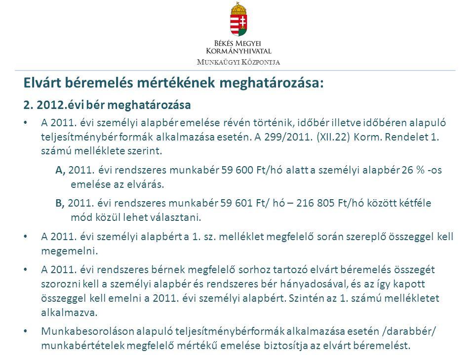 Elvárt béremelés mértékének meghatározása: 2. 2012.évi bér meghatározása A 2011.