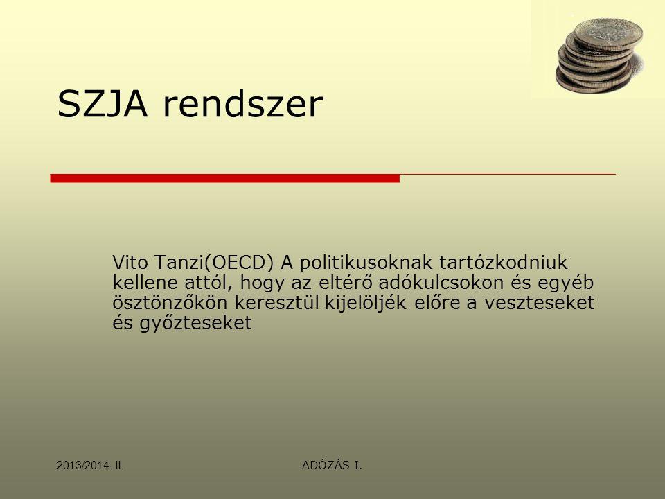 ADÓZÁS I. SZJA rendszer Vito Tanzi(OECD) A politikusoknak tartózkodniuk kellene attól, hogy az eltérő adókulcsokon és egyéb ösztönzőkön keresztül kije