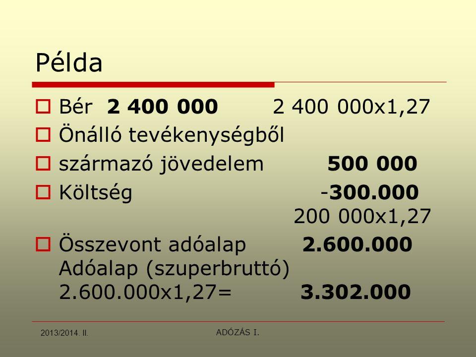 ADÓZÁS I. Példa  Bér 2 400 0002 400 000x1,27  Önálló tevékenységből  származó jövedelem 500 000  Költség -300.000 200 000x1,27  Összevont adóalap