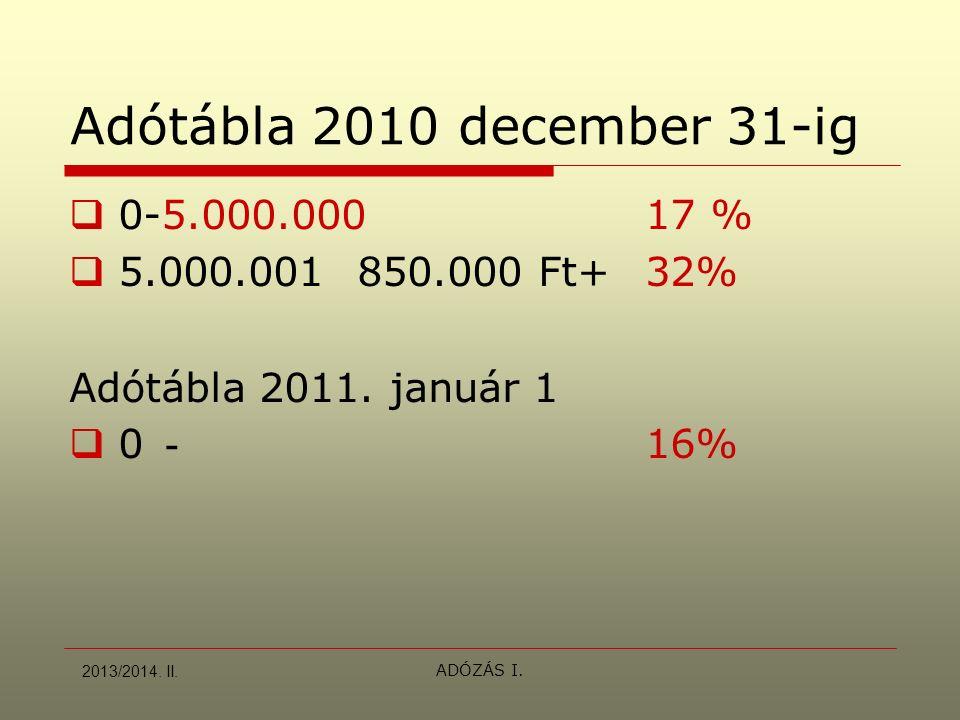ADÓZÁS I. Adótábla 2010 december 31-ig  0-5.000.00017 %  5.000.001850.000 Ft+32% Adótábla 2011. január 1  0 - 16% 2013/2014. II.