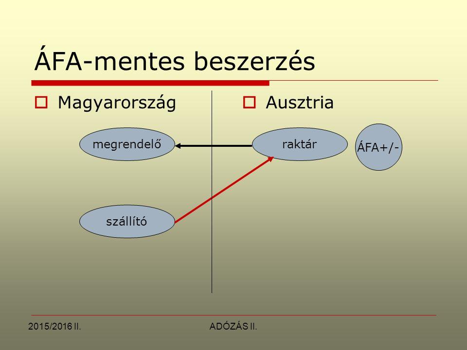 2015/2016 II.ADÓZÁS II. ÁFA-mentes beszerzés  Magyarország  Ausztria megrendelőraktár szállító ÁFA+/-