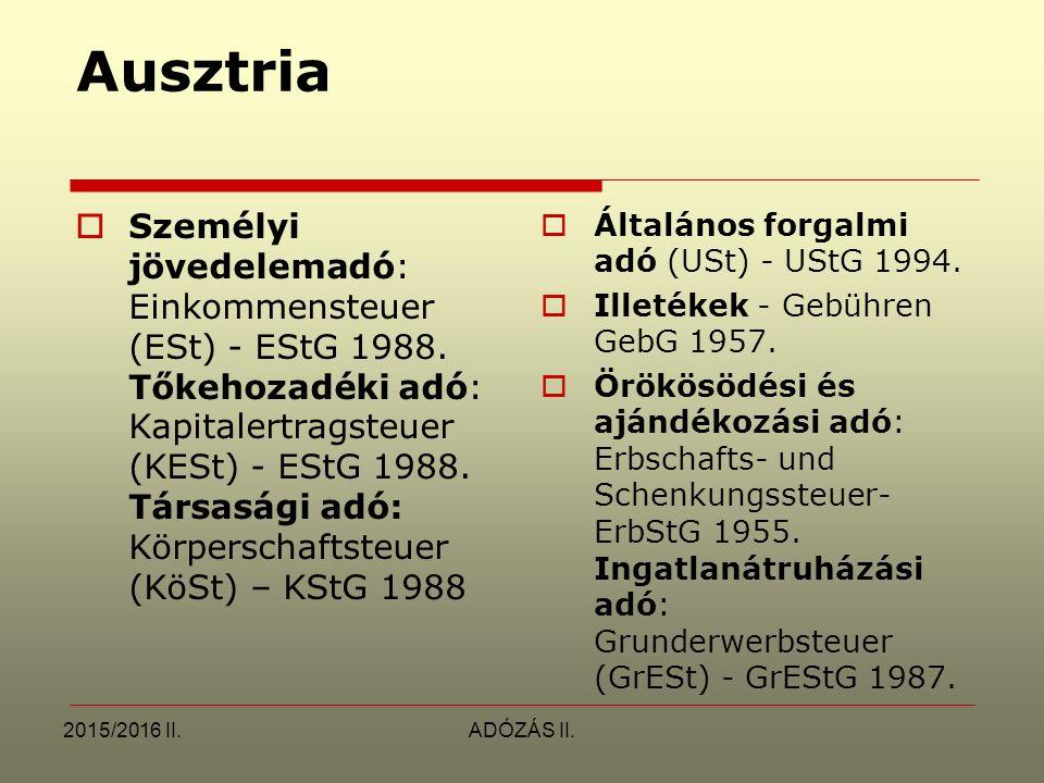 2015/2016 II.ADÓZÁS II. Ausztria  Személyi jövedelemadó: Einkommensteuer (ESt) - EStG 1988. Tőkehozadéki adó: Kapitalertragsteuer (KESt) - EStG 1988.