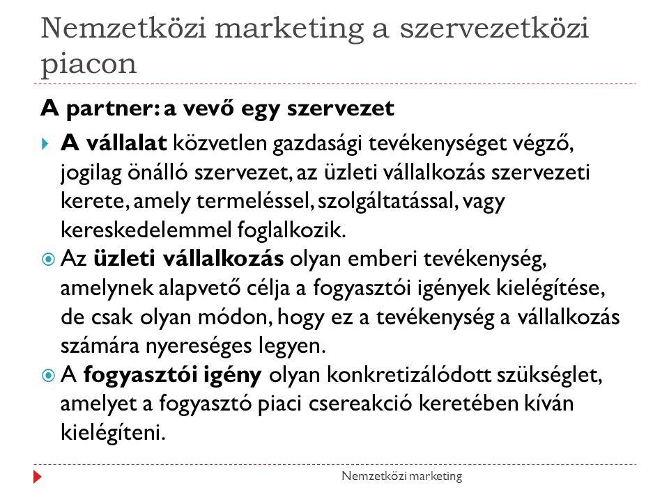 Nemzetközi marketing a szervezetközi piacon A partner: a vevő egy szervezet  A vállalat közvetlen gazdasági tevékenységet végző, jogilag önálló szerv