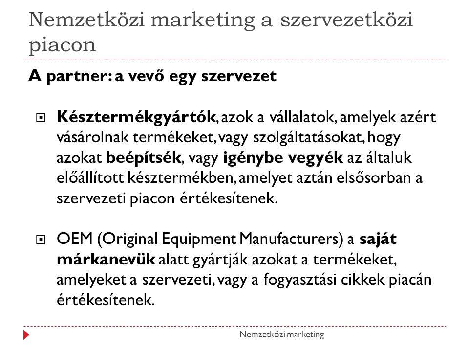 Nemzetközi marketing a szervezetközi piacon A partner: a vevő egy szervezet  Késztermékgyártók, azok a vállalatok, amelyek azért vásárolnak termékeke