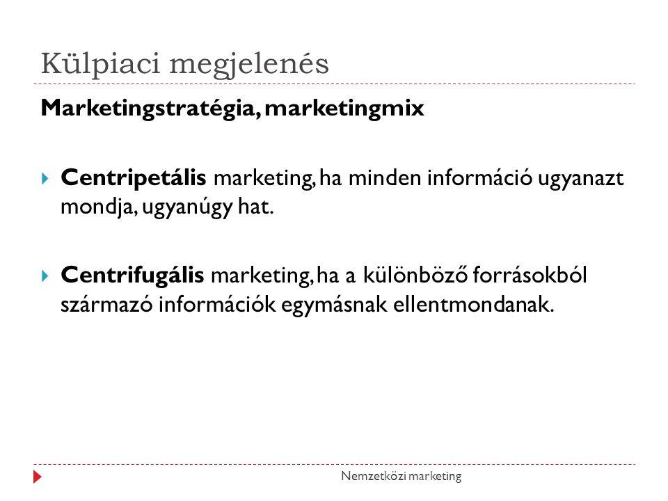 Külpiaci megjelenés Marketingstratégia, marketingmix  Centripetális marketing, ha minden információ ugyanazt mondja, ugyanúgy hat.  Centrifugális ma