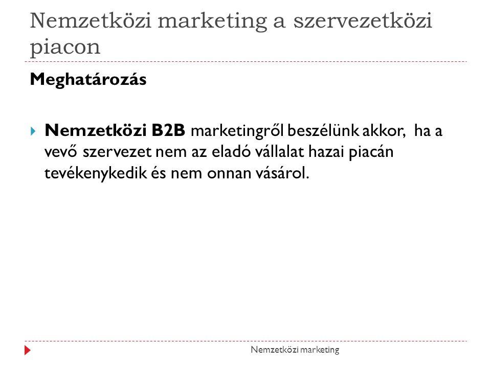 Nemzetközi marketing a szervezetközi piacon Meghatározás NNemzetközi B2B marketingről beszélünk akkor, ha a vevő szervezet nem az eladó vállalat haz
