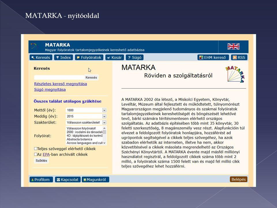 MATARKA - nyitóoldal
