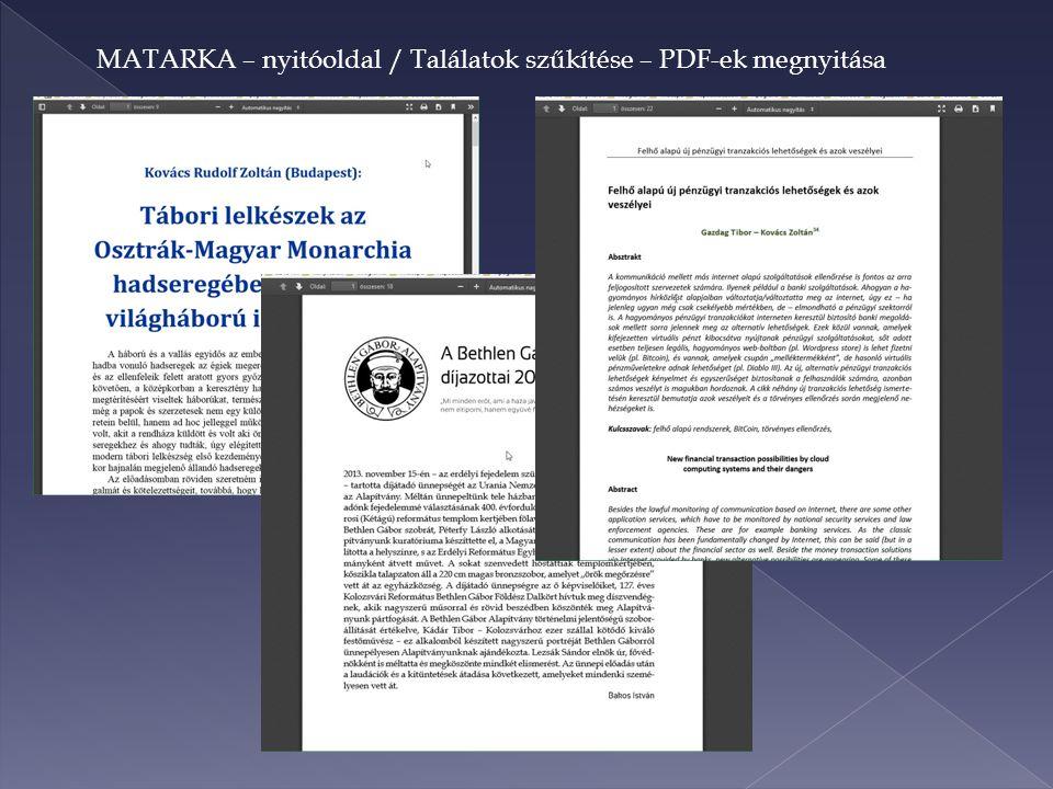 MATARKA – nyitóoldal / Találatok szűkítése – PDF-ek megnyitása